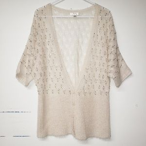 Loft Cardigan Beaded Fuzzy Wool Mohair Cream XL